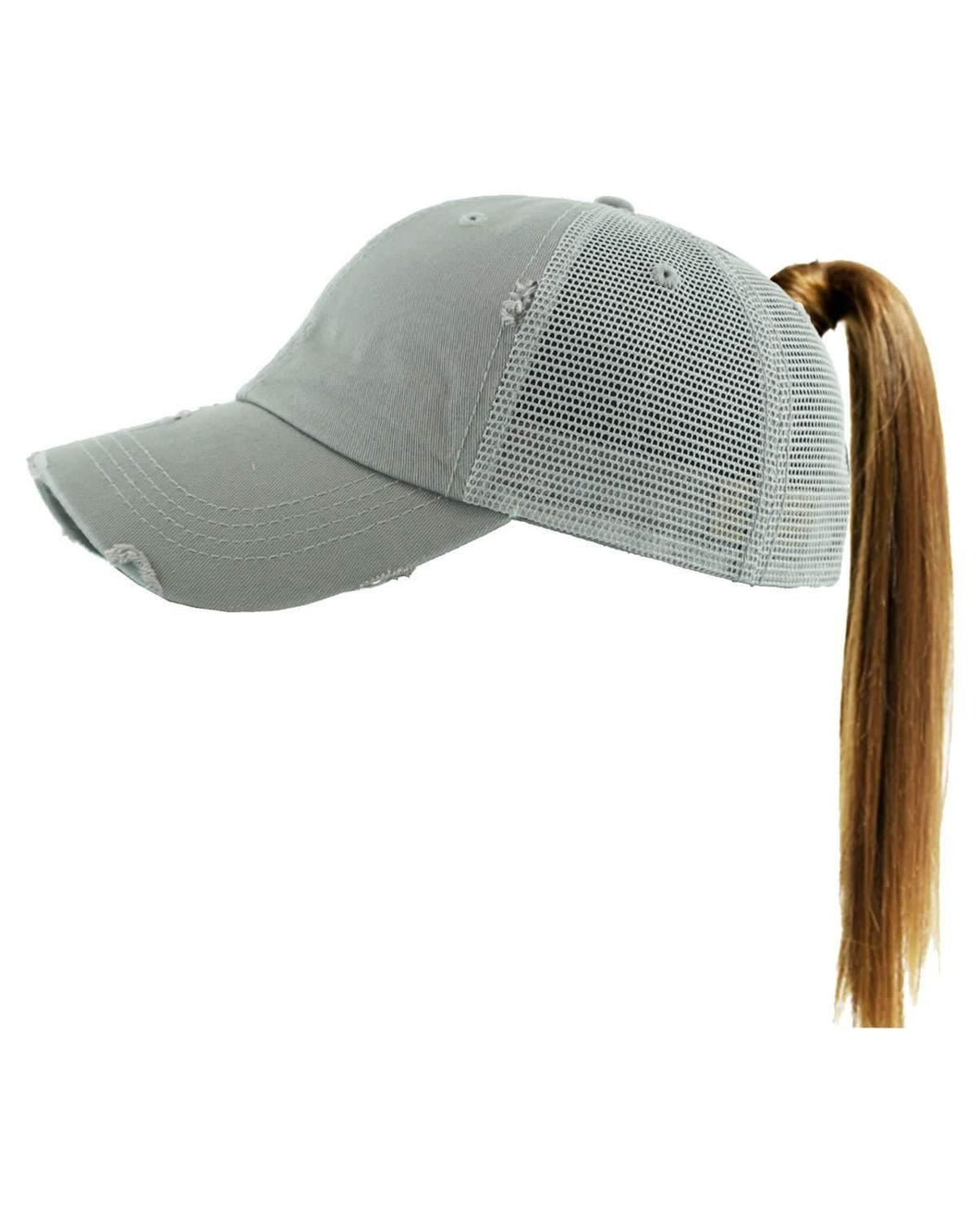 Vintage Distressed Pony Tail Trucker Style Monogrammed Cap