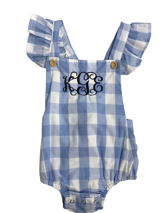 Blue Gingham Check Romper,Kids Clothes
