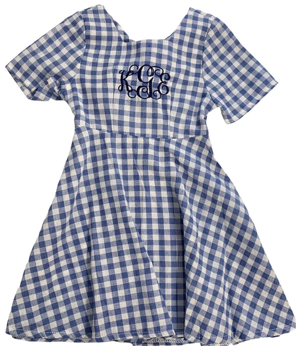 Blue Gingham Dress,Kids Clothes