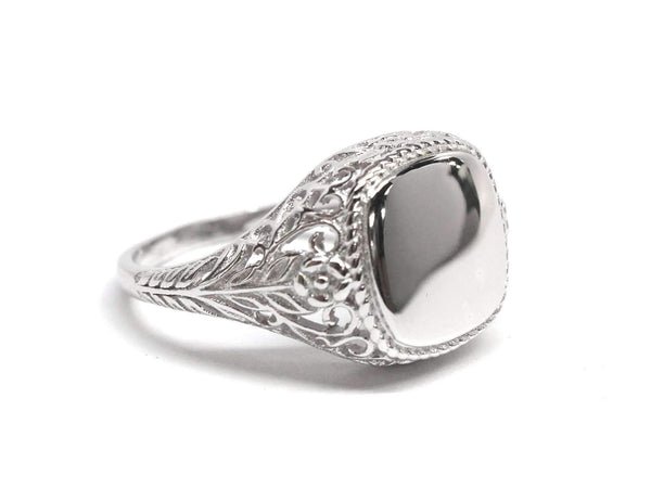 Engraved Square Filigree Sterling Silver Ring Hannah