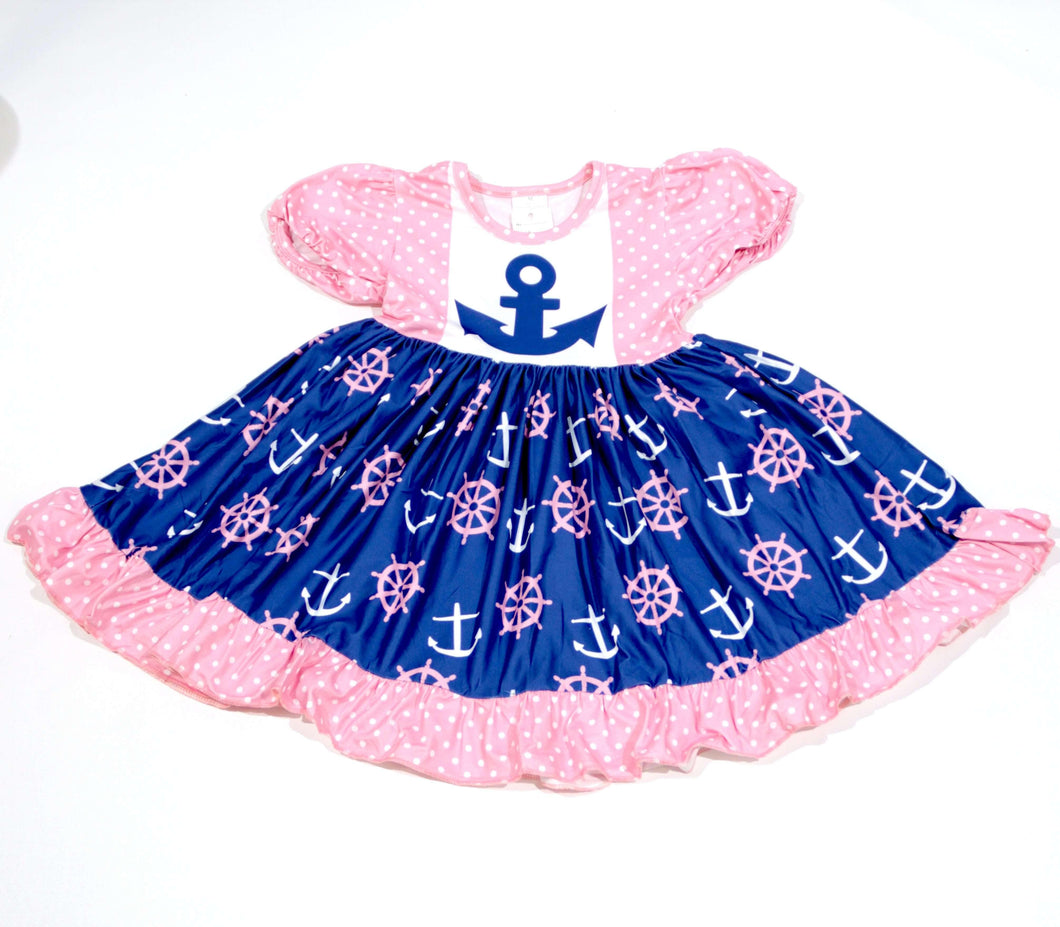 Anchor Print Nautical Twirl Dress,Kids Clothes