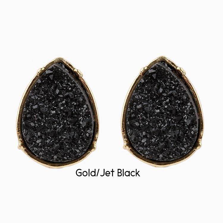 Druzy Earrings Tear Drop Post Black,Live Show