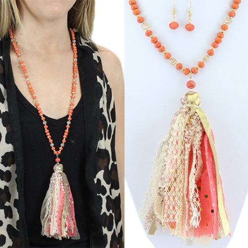 Duster Necklace Coral
