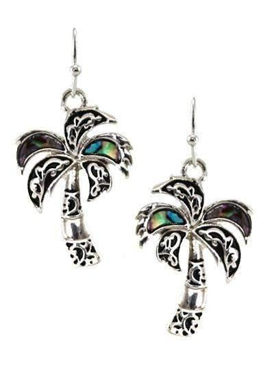 Palm Tree Abalone Earrings