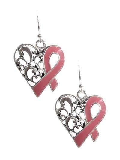 Pink Ribbon Awareness Heart Earrings