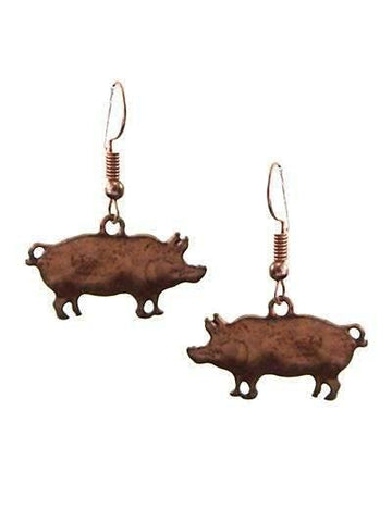 Burnished Copper Pig Earrings