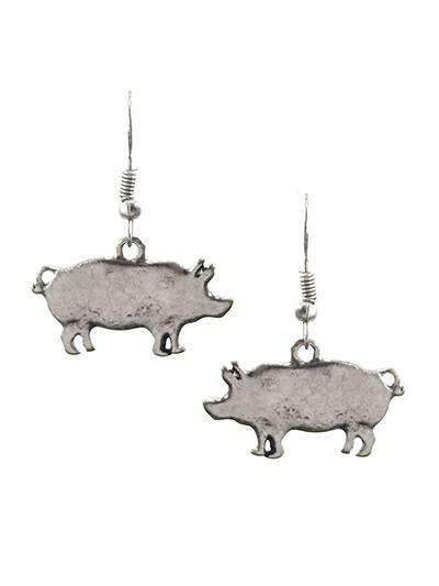 Burnished Silver Pig Earrings,earrings