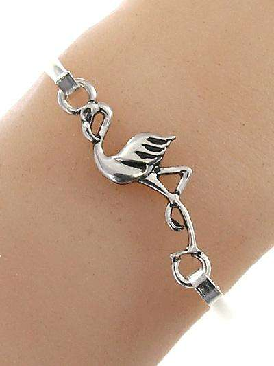 Silver Flamingo Bangle Style Bracelet