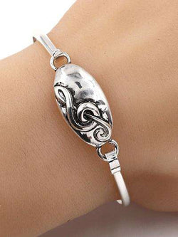 Oval Music Note Silver Bangle Bracelet
