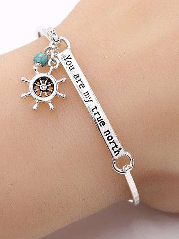 You are My True North Bar Bangle Bracelet