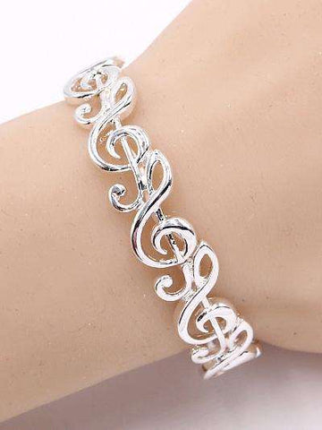 Music Note Silver Stretch Bracelet
