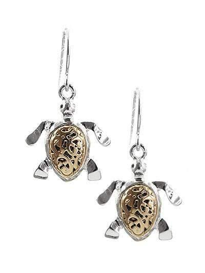 Two Tone Sea Turtle Earrings