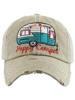 Happy Camper Distressed Vintage Cap