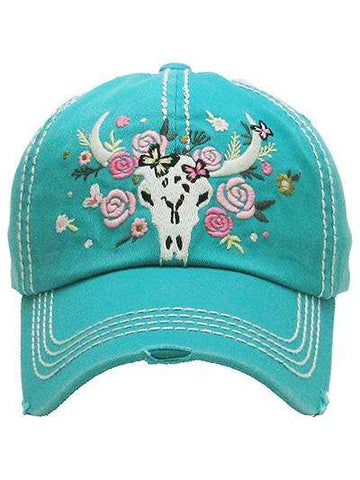 Cow Skull Vintage Trucker Cap with Floral Accents