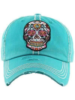 Sugar Skull Distressed Vintage Cap