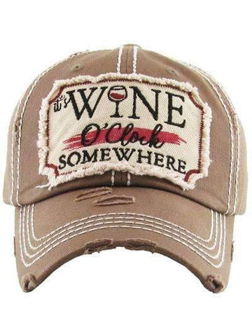 It's Wine O'clock Somewhere Vintage Cap