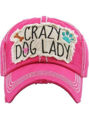 Crazy Dog Lady Vintage Distressed Cap Hot Pink