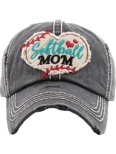 Softball Mom Vintage Cap Dark Gray