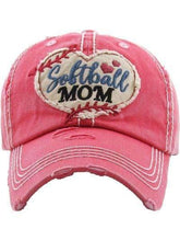 Load image into Gallery viewer, Softball Mom Vintage Cap Coral