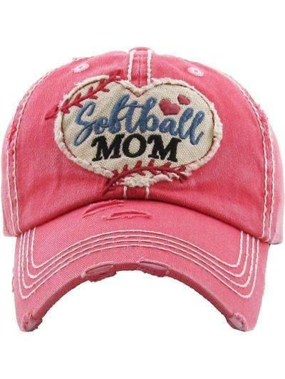 Softball Mom Vintage Cap Coral