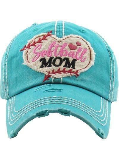 Softball Mom Vintage Cap Turquoise