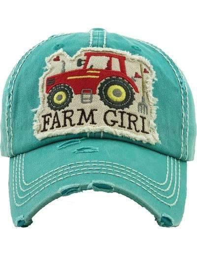 Farm Girl with Red Tractor Vintage Cap,Caps