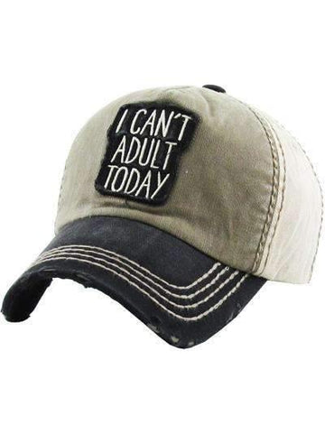 I Can't Adult Today Vintage Two Tone Cap Black/Khaki