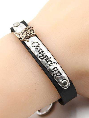 Cowgirl Up Leather Toggle Bracelet