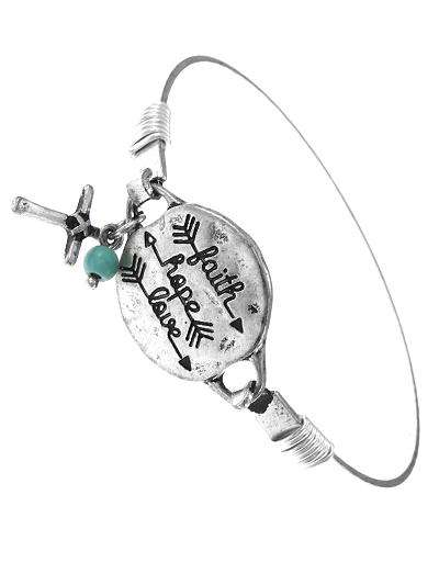 Faith Hope and Love Arrow Burnished Silver Bracelet