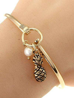 Pineapple Gold Bangle Bracelet