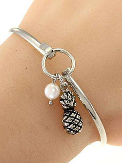 Pineapple Silver Bangle Bracelet
