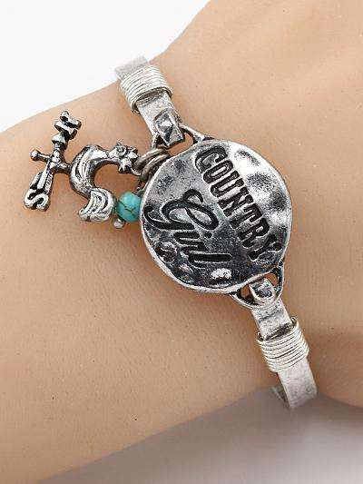 Country Girl Burnished Silver Bracelet