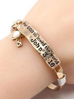 John 3:16 Burnished Gold Bar Bracelet
