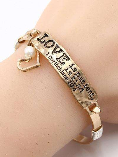 Love Is Patient and Kind Gold Bar Bracelet