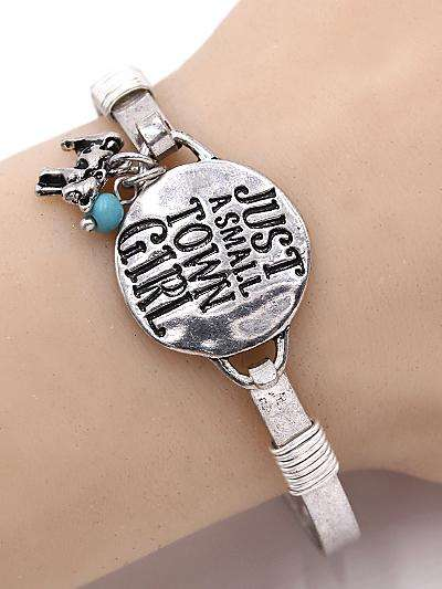 Just a Small Town Girl Cow Silver Bracelet