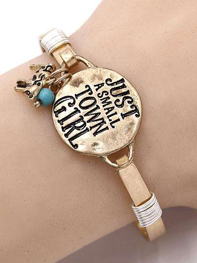 Just a Small Town Girl Cow Gold Tone Bracelet