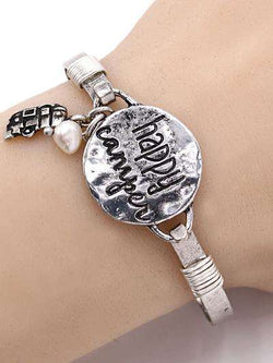 Happy Camper Burnished Silver Bangle Bracelet