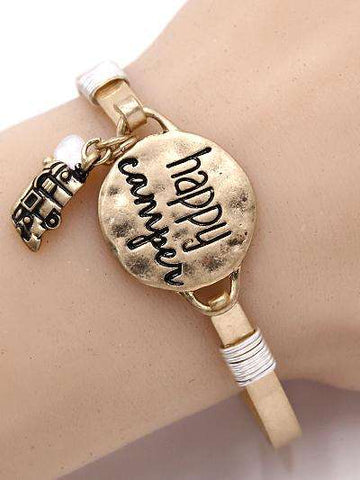 Happy Camper Burnished Gold Bangle Bracelet