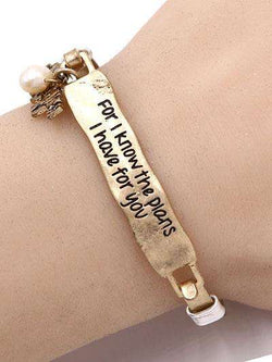 Jeremiah 29:11 Burnished Gold Bar Bracelet