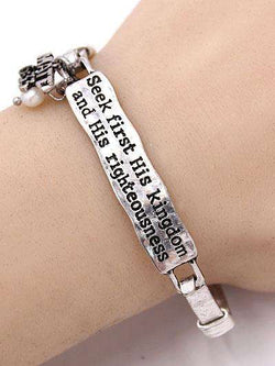 Matthew 6:33 Burnished Silver Bar Bracelet