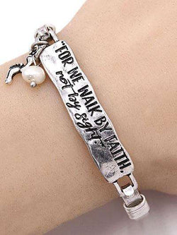 For we Walk by Faith Burnished Silver Bar Bracelet