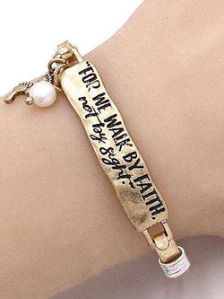 For We Walk by Faith Burnished Gold Bar Bracelet