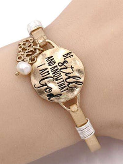 Psalm 46:10 Burnished Gold Bangle Bracelet