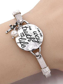 John 14:6 Burnished Silver Bangle Bracelet