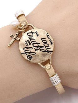 John 14:6 Burnished Gold Bangle Bracelet