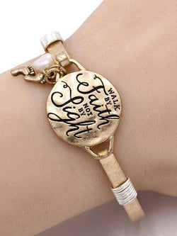 Walk By Faith Not By Sight Burnished Gold Bracelet