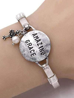 Amazing Grace Burnished Silver Bangle Bracelet
