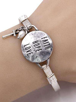 Faith Hope Love Burnished Silver Bangle Bracelet