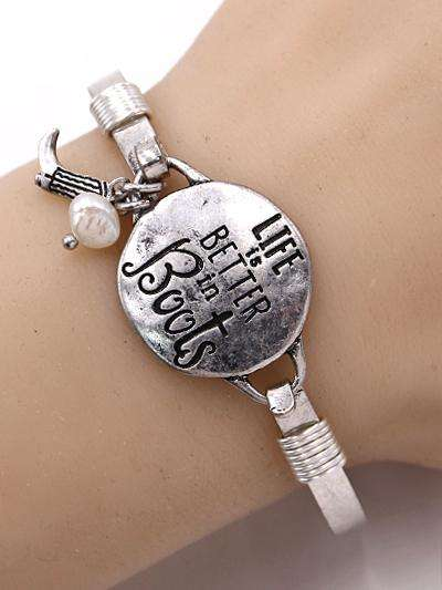 Life is Better in Boots Burnished Silver Bangle Bracelet