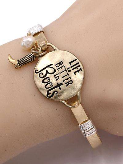 Life is Better in Boots Burnished Gold Bangle Bracelet
